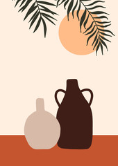 Abstract modern vase with tropical leaf on light background. Fashion minimal trendy art in flat style minimal poster print. Vector hand drawn illustration
