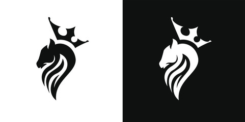 royal horse, abstract horse logo with crown