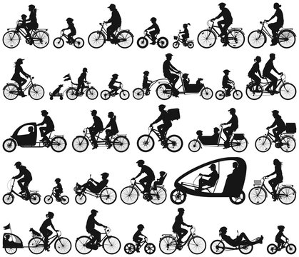 Urban cyclists riding a bicycle man  woman child and senior vector silhouette collection
