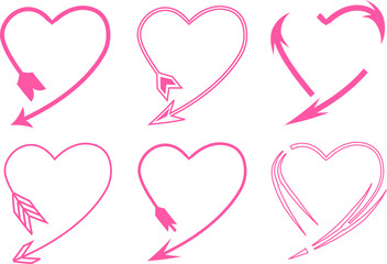 Collection of creative pink heart arrow illustrations. Set of hearts, symbol of love. Gently pink heart icons vector