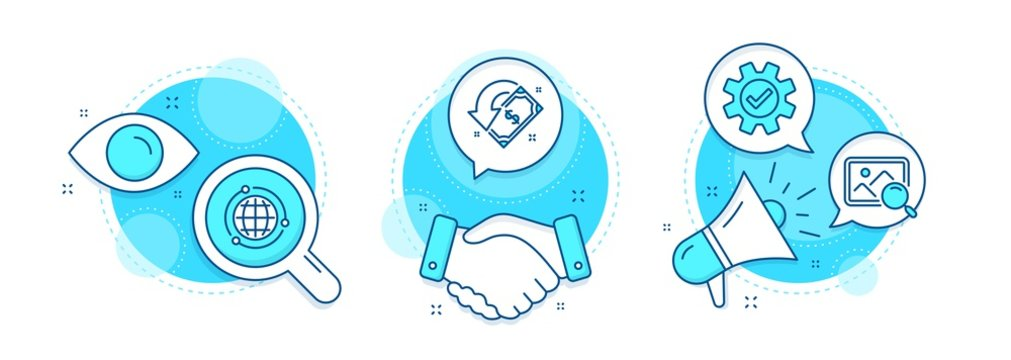 Search photo, Service and Globe line icons set. Handshake deal, research and promotion complex icons. Cashback sign. Find image, Cogwheel gear, Internet world. Receive money. Technology set. Vector