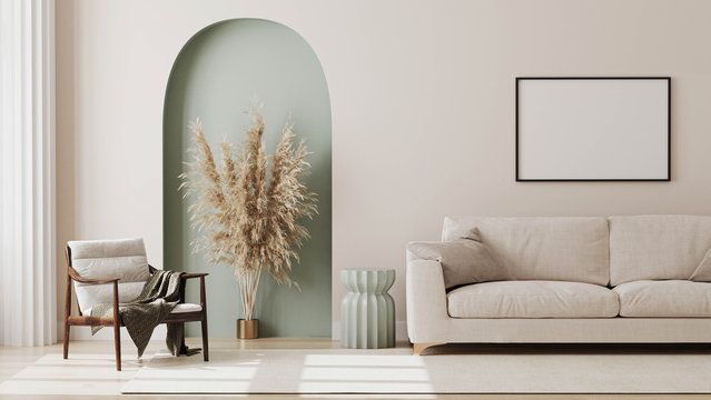 empty poster frame on beige wall in living room interior with modern furniture and decorative green arch with trendy dried flowers, white sofa and armchair, 3d render