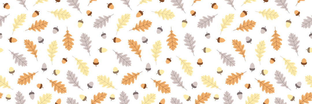 Seamless pattern with oak leaves and acorns.