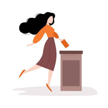 Voting and election concept. Girl is putting paper ballot with vote into the box. Pre-election campaign. Isolated vector illustration