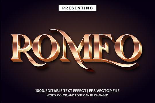 Romeo classic metallic text effect