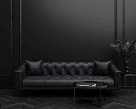 Black Tufted Sofa Couch Mid-Century Modern Dark Living Room Blank Empty Wall Copy Space