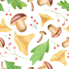 This is a watercolor autumn seamless pattern. Hand-drawn leaves, oak, acorns, mushrooms..You can use this set in your projects, for example print on fabric or on a napkin.