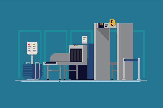 Cool vector background on international airport security line with X-ray in trendy flat design. Transportation themed illustration with baggage and passenger screening and monitoring equipment