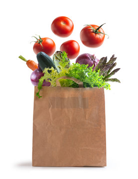 ecological bag of vegetables isolated from the background