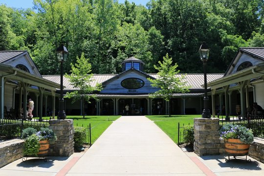 Lynchburg, Tennessee, United States. Main entrance of the Jack Daniel's Distillery Visitor Center.