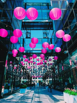 A picture of decorative paper lanterns with various colors for an event in CityCenterDC, Washington, DC during spring season.