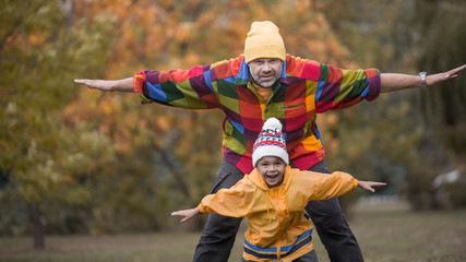 Tender scene father with son having fun spending tome together