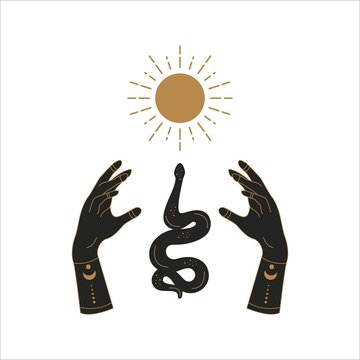 Boho doodle mystic template. Hand drawn esoteric magic hands with snake and sun, simple feminine logo design. Vector illustration