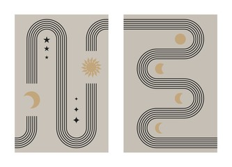 Abstract boho poster set. Contemporary line design with sun and moon phases trendy bohemian style. Modern vector illustration