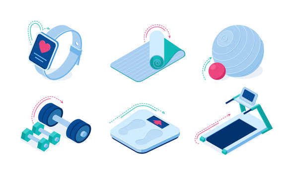 Home sport workout equipment and gadgets isometric vector icons. Barbells, sports exercise treadmill, yoga mat, smart watch with app, weight scales and fit ball isolated on white background 3d set