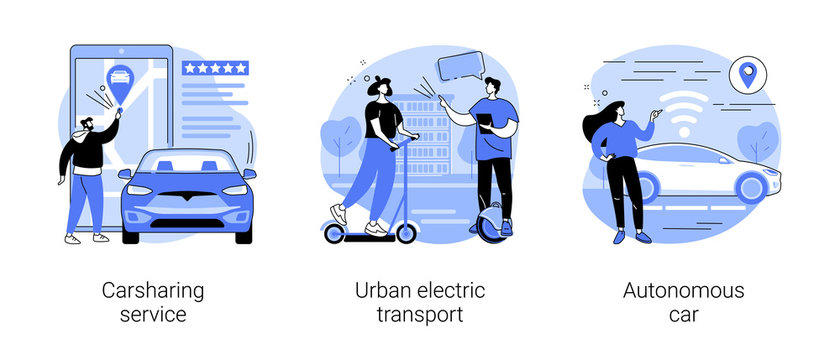 Urban transportation abstract concept vector illustration set. Carsharing service, urban electric transport, autonomous car, rental service, city lifestyle, self-driving vehicle abstract metaphor.