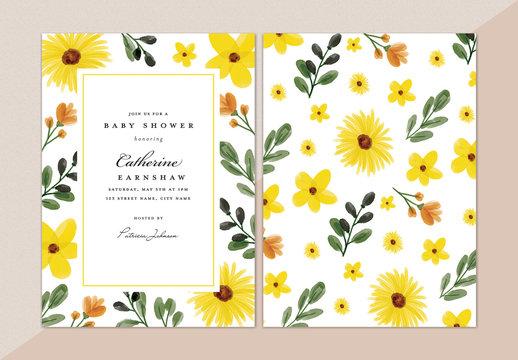 Floral Sunflower Baby Shower Invitation Layout