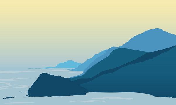 Blue Mountain Landscape Illustration Design