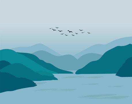 Dark Mountain Landscape Illustration Design