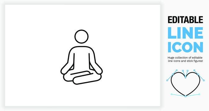 Editable line icon of a stick figure meditating