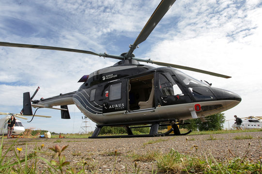 A view shows an Ansat Aurus luxury helicopter at Kazan Helicopter Plant in Kazan
