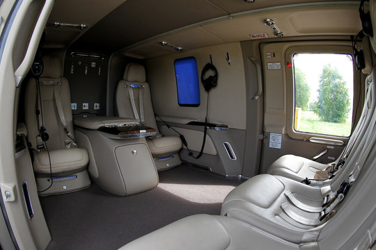 A view shows the interior of an Ansat Aurus luxury helicopter at Kazan Helicopter Plant in Kazan