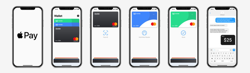 Apple Pay mobile wallet editable template, on iPhone screen mockup. Isolated Apple interface payment methods on white background. Cashless, NFC, wireless. Vector set. PARIS, FRANCE – AUGUST 24, 2020.
