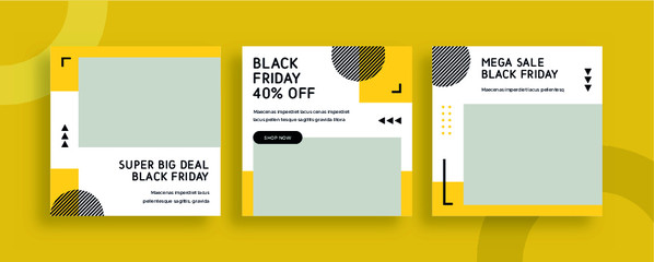 Fototapeta Set of editable templates for Instagram post, Facebook square frame, social media, advertisement, and business promotion, fresh design with yellow color and minimalist vector. (3/3) obraz