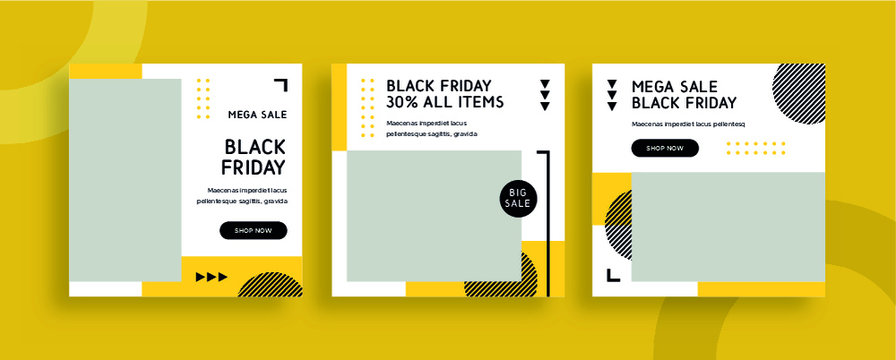 Set of editable templates for Instagram post, Facebook square frame, social media, advertisement, and business promotion, fresh design with yellow color and minimalist vector. (1/3)