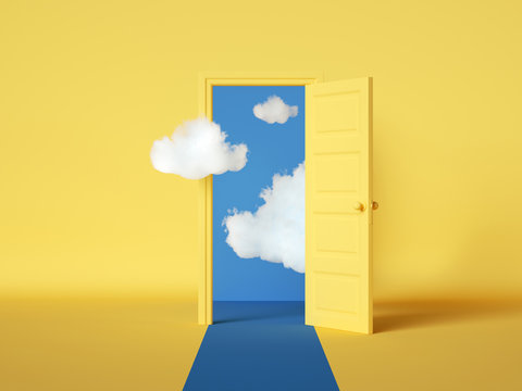 3d rendering, white clouds flying out and going through the open door, objects isolated on bright yellow background. Abstract metaphor, modern minimal concept. Surreal dream scene