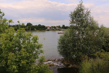 Blick auf den Rhein bei Gernsheim in Hessen
