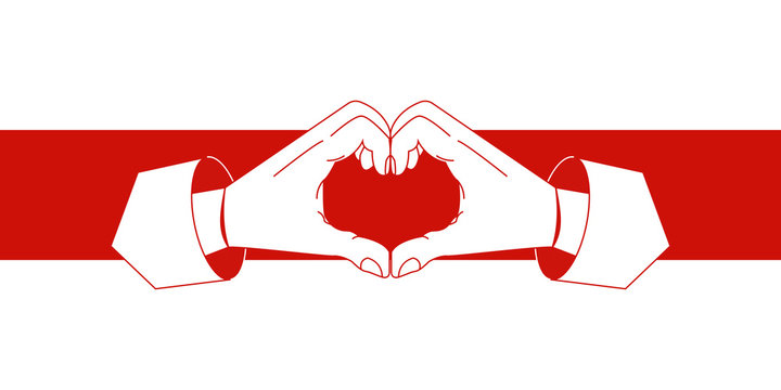 Belarus opposition flag with heart symbols vector illustration.Hands forming heart sign in red and white opposition flag colors. Protests in Belarus. Revolution symbols. Protest against Lukashenko.