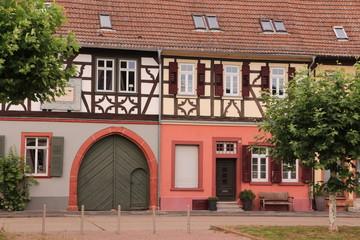 Traditionelle Fachwerkhäuser im Zentrum von Gernsheim