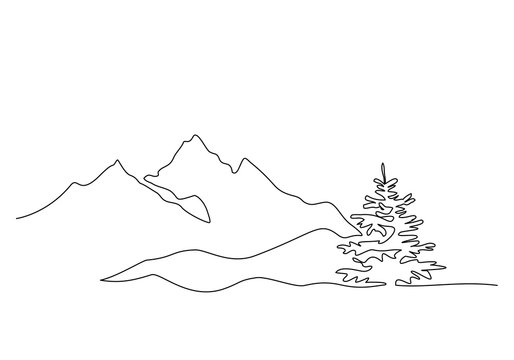 Mountain landscape, drawn in one line. Continuous line. Travels. Minimalistic graphics. Mountains and spruce.