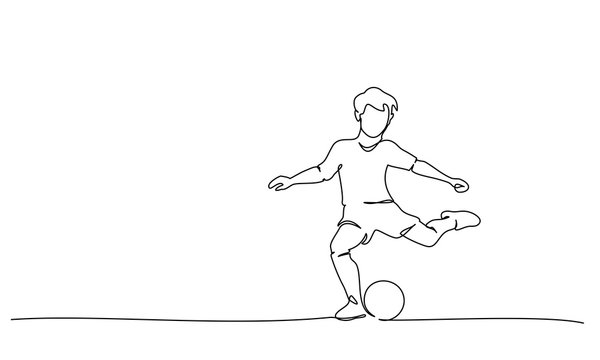 continuous line drawing of football players sports concept vector health illustrations