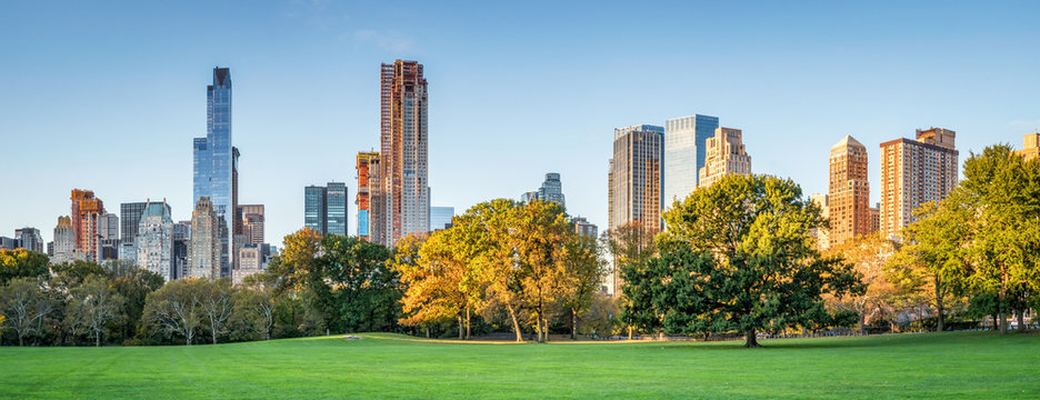 Panoramic view of Central Park in autumn, New York City, USA