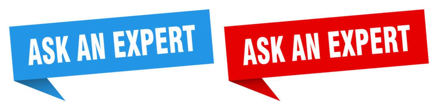 ask an expert banner sign. ask an expert speech bubble label set