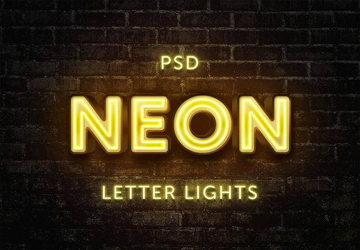 Neon Lights Text Effect Mockup