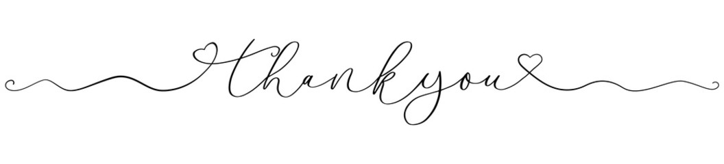 Thank you calligraphy font handwritten letter banner isolated