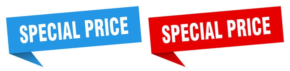 special price banner sign. special price speech bubble label set