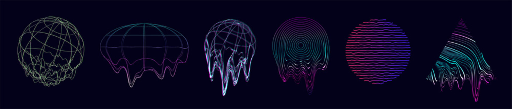 Universal glitch shapes set. Trendy digital retrofuturism vaporwave. 3d circles and triangles with the effect of liquid, glitch, destruction. Abstract elements for web, poster, covers. Memphis set