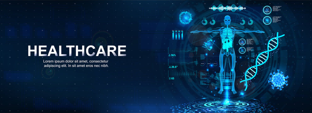 Medical futuristic research banner with Sci HUD. 3D body mri with modern interface, bpm, DNA formula, bacteria, heart scan and other. Healthcare scanning, science examination. Vector banner