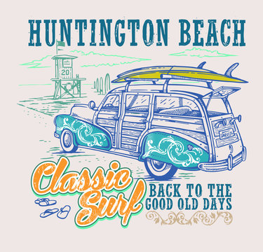 Vector illustration of surfer car on beach and text landscape.