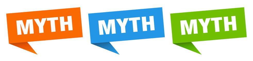 myth banner sign. myth speech bubble label set
