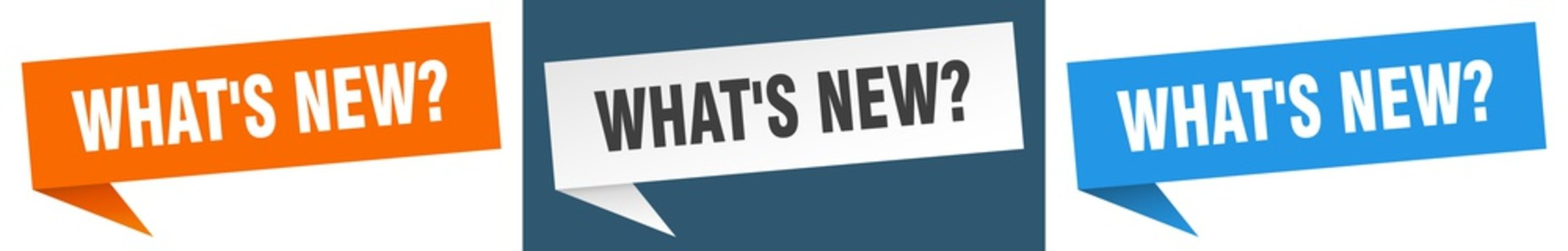 what's new? banner sign. what's new? speech bubble label set