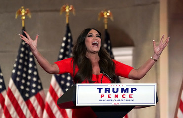 Kimberly Guilfoyle delivers a pre-recorded speech to the largely virtual Republican National Convention in Charlotte, from Washington