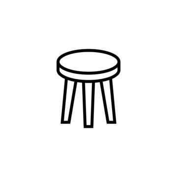 Round rotate chair seats icon  in black line style icon, style isolated on white background