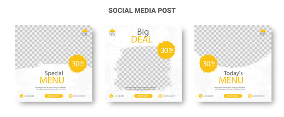 Yellow and White Social Media Food Menu Banners