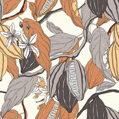 Plant seamless pattern, hand drawn line art cocoa tree on bright brown