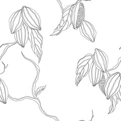 Plant seamless pattern, hand drawn black line art cocoa tree on white